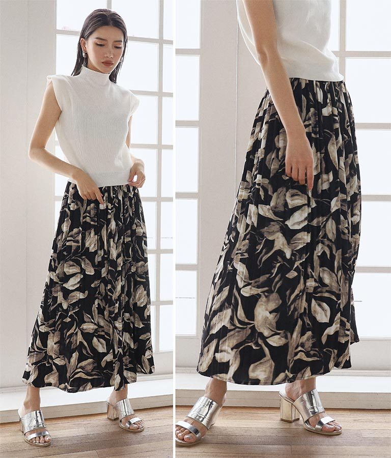 ボタニカル柄ロングスカート