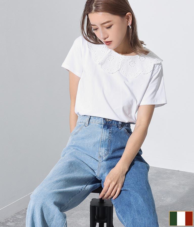 コットンレース襟付きTシャツ(トップス/Tシャツ) | Settimissimo