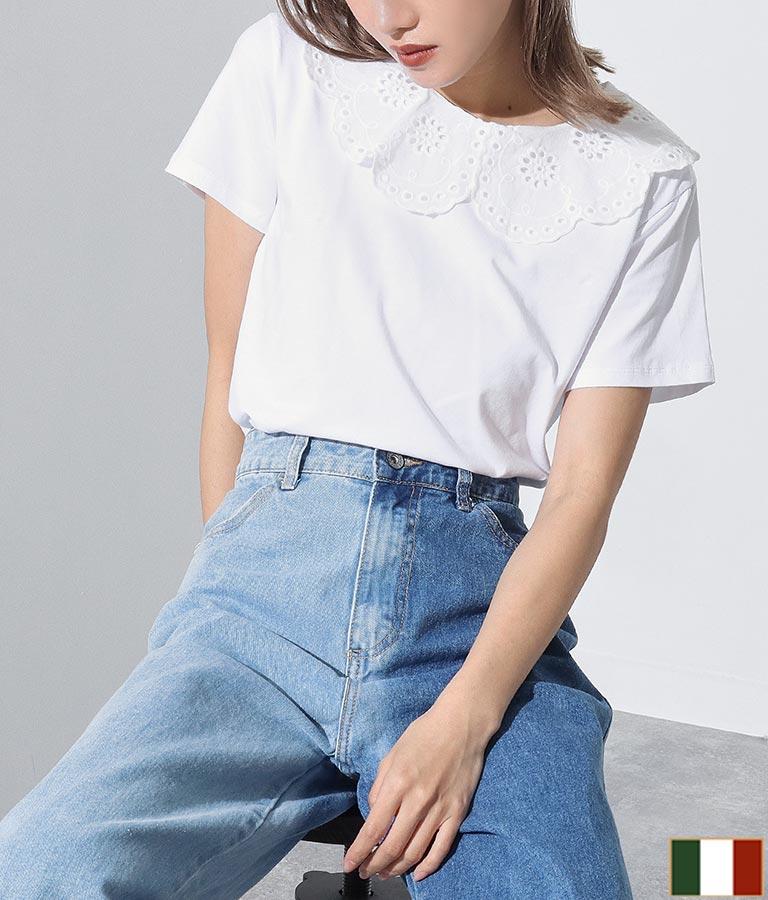 コットンレース襟付きTシャツ