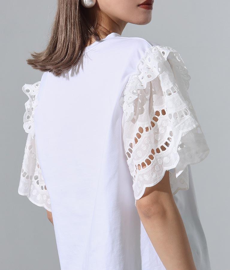 コットンレーススリーブ付Tシャツ(トップス/Tシャツ) | Settimissimo