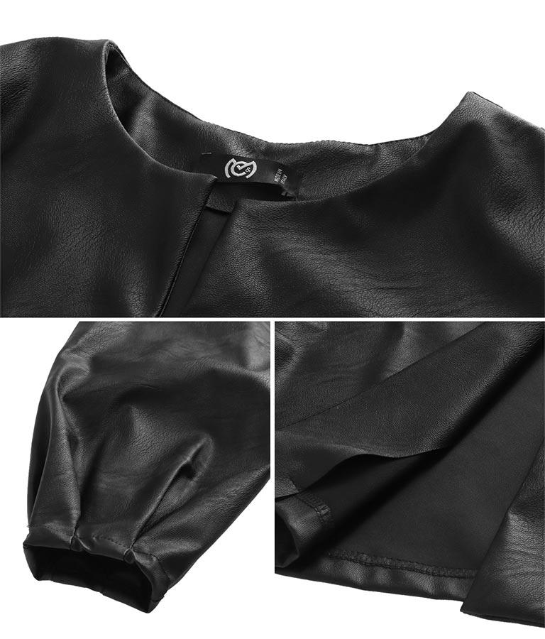 エコレザーボリュームスリーブジャケット(アウター(コート・ジャケット) /ジャケット・ブルゾン) | Settimissimo