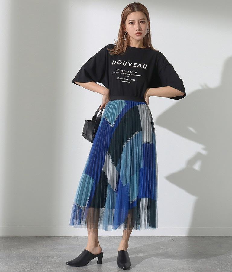パッチワークプリントプリーツスカート(ボトムス・パンツ /スカート) | Alluge