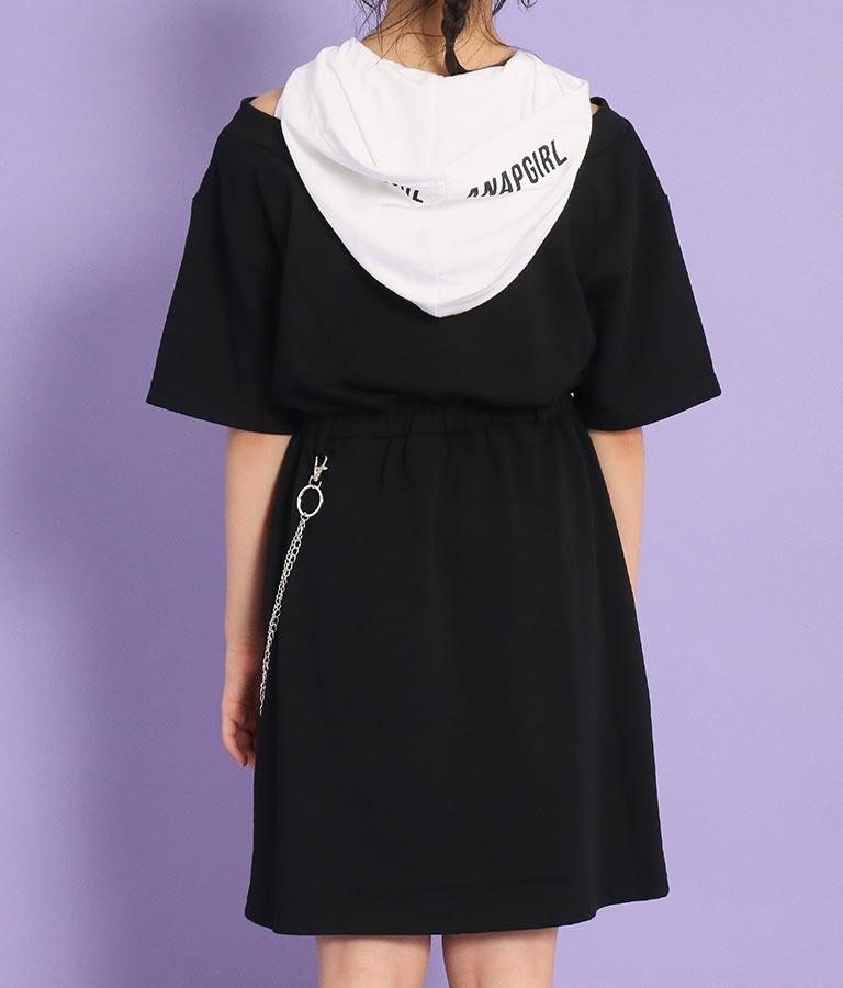 チェーン付肩あきフーディーワンピース(ワンピース・ドレス/ミディアムワンピ) | ANAP GiRL