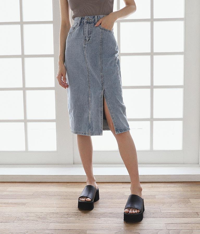 スリットデニムタイトスカート