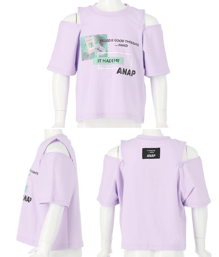 両袖ジップ転写トップス(トップス/Tシャツ)   ANAP KIDS