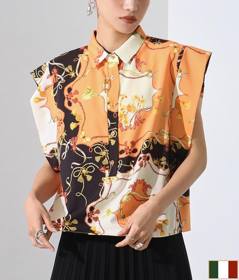 スカーフ柄ヴィンテージ風デザインシャツ