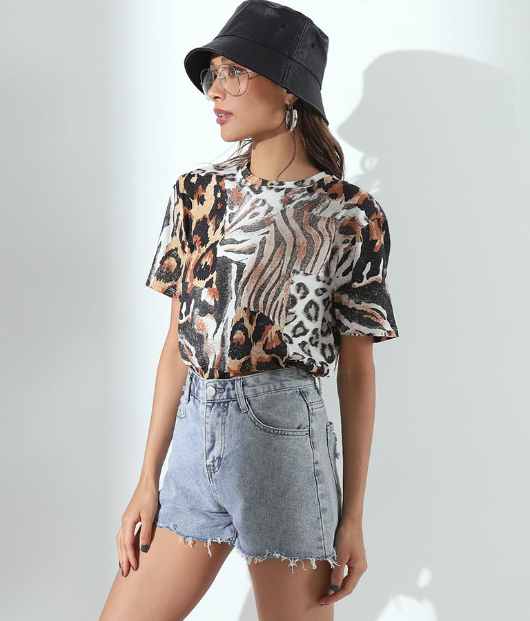 SS ANIMAL COLLAGE TEE(トップス/Tシャツ) | GUESS