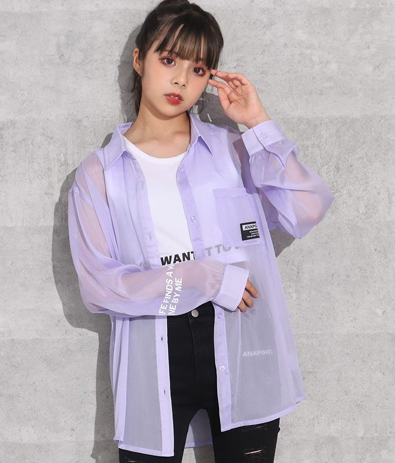 袖プリントシアーシャツ(トップス/シャツ・ブラウス)   ANAP GiRL