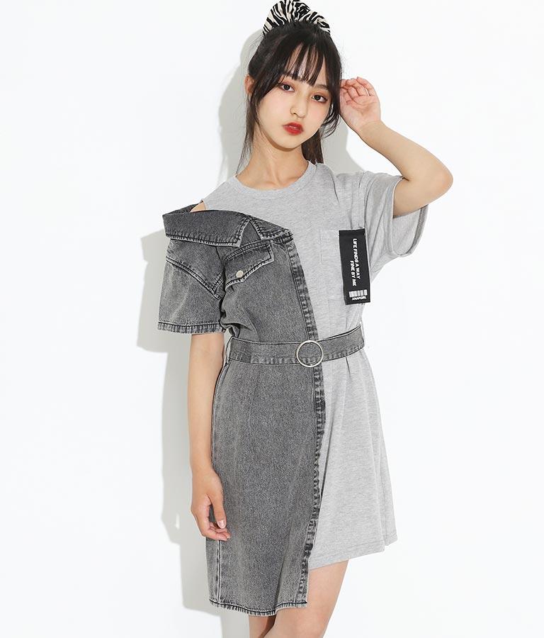 デニムシャツ切替ワンピース(ワンピース・ドレス/ミディアムワンピ)   ANAP GiRL