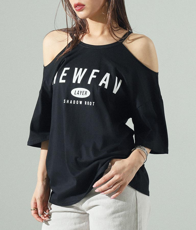 オープンショルダープリントTシャツ
