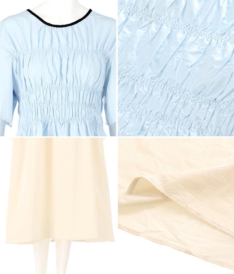 バイカラーデザインワンピース(ワンピース・ドレス/ロングワンピ・マキシ丈ワンピース) | Alluge
