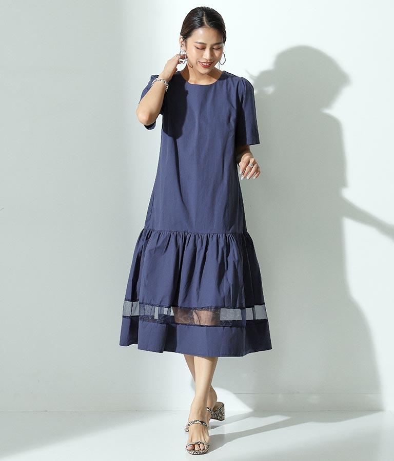 シアーラインポイントワンピース(ワンピース・ドレス/ロングワンピ) | Alluge