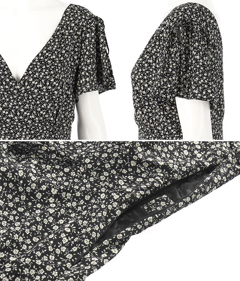 フリル肩あき小花柄ワンピース(ワンピース・ドレス/ロングワンピ) | CHILLE