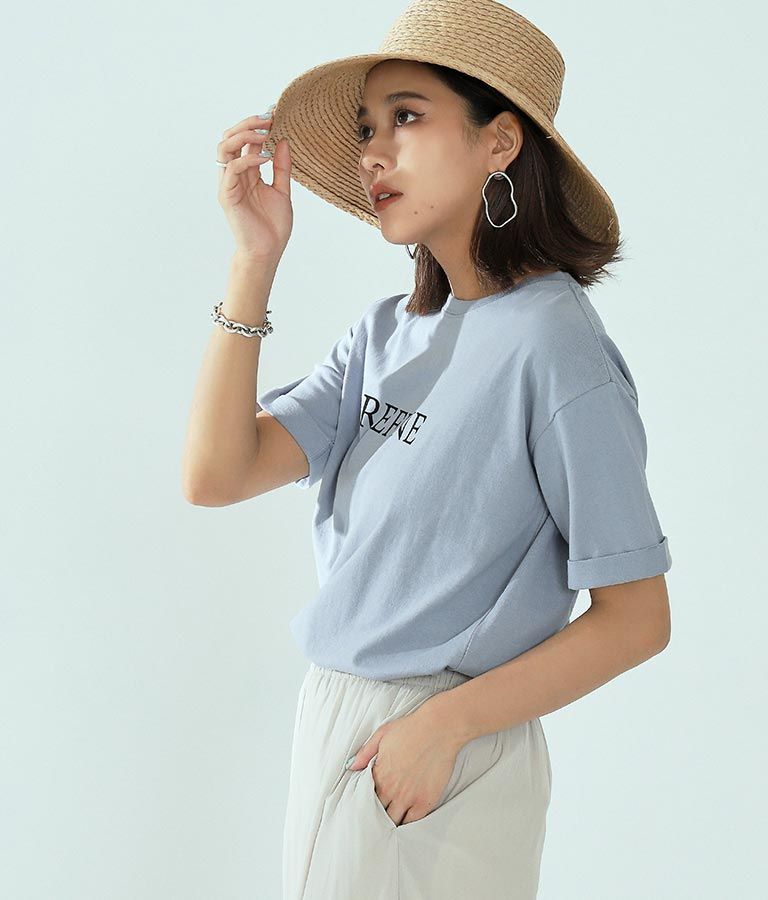英字ロゴ袖ロールアップTシャツ(トップス/Tシャツ) | Settimissimo