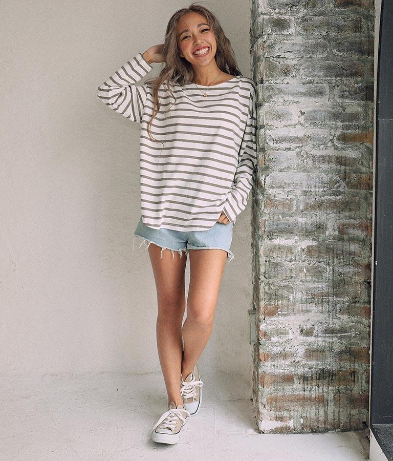 ボーダーボートネックロングTシャツ(トップス/Tシャツ) | anap mimpi