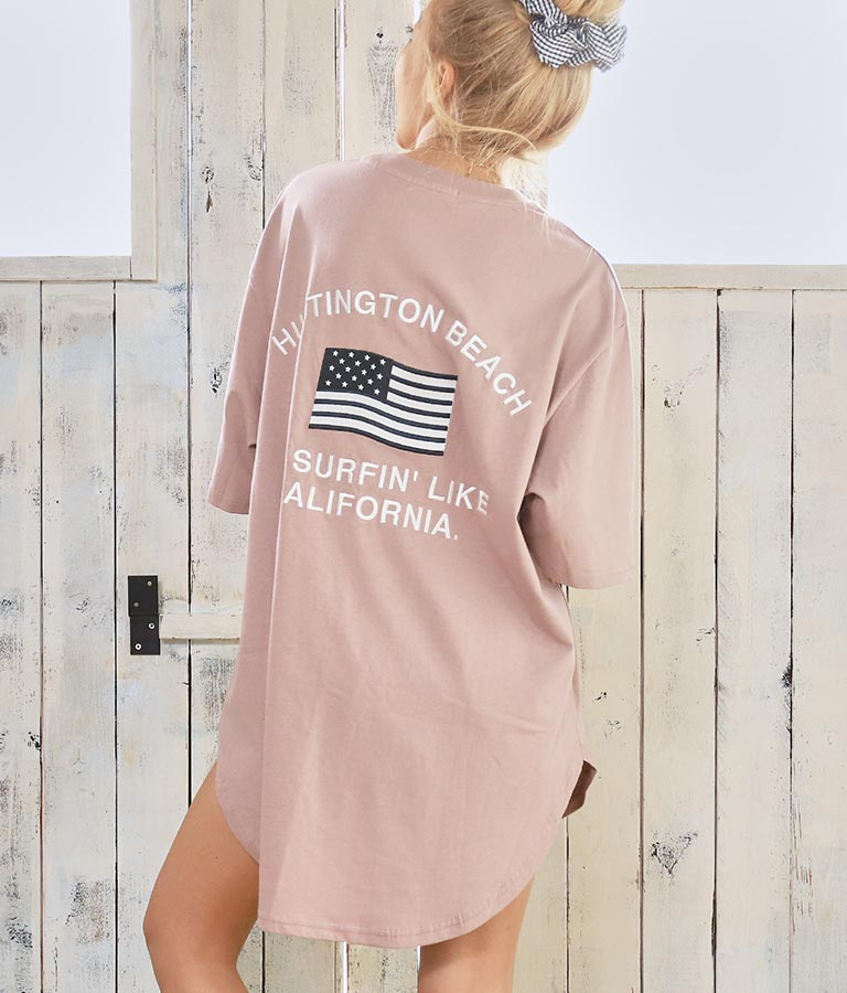 国旗レタリング刺繍ビッグTシャツ