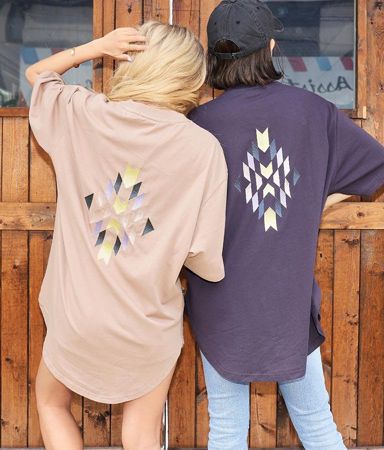 カラーオルテガ刺繍ビッグTシャツ