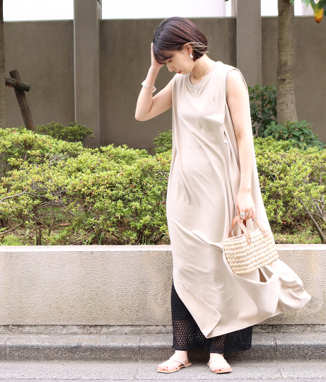 ショルダータックノースリーブカットソーワンピース(ワンピース・ドレス/ロングワンピ) | Factor=
