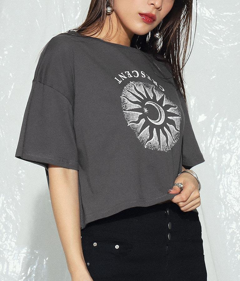 クロップドモチーフプリントTシャツ