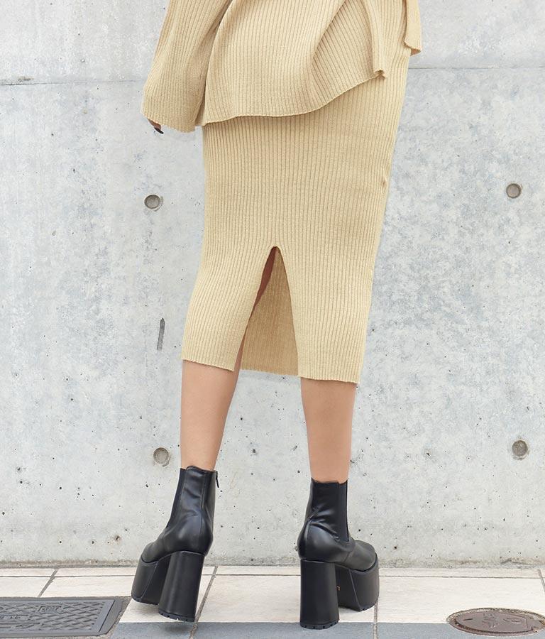 ウールタッチリブニットラメMIXスカート