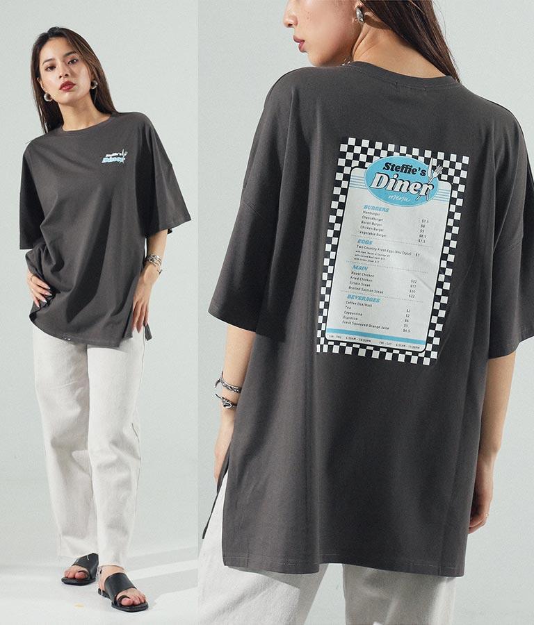 dinerプリントオーバーサイズTシャツ