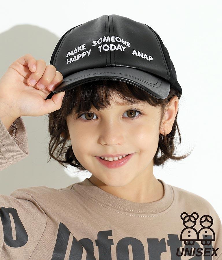 レザー×ツイル切替刺繍ロゴキャップ(ファッション雑貨/ハット・キャップ・ニット帽 ・キャスケット・ベレー帽)   ANAP KIDS