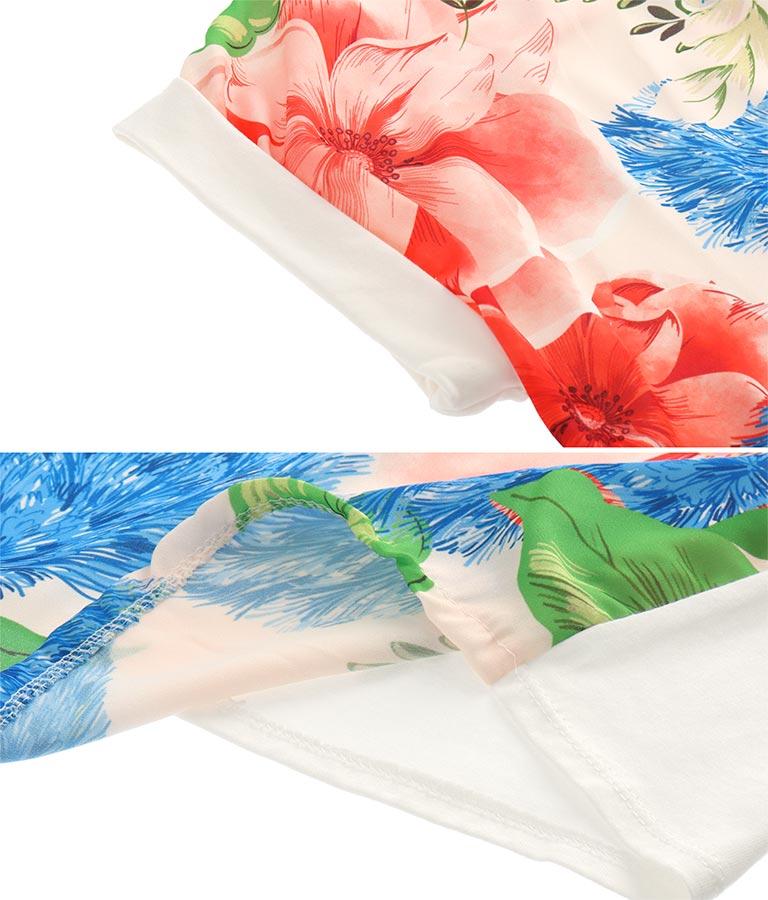 フラワーモチーフプリントシフォン&コットン切替Tシャツ(トップス/Tシャツ) | Settimissimo
