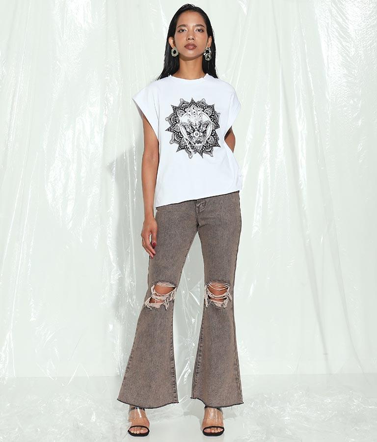 インディアンモチーフプリントコットントップス(トップス/Tシャツ) | Settimissimo