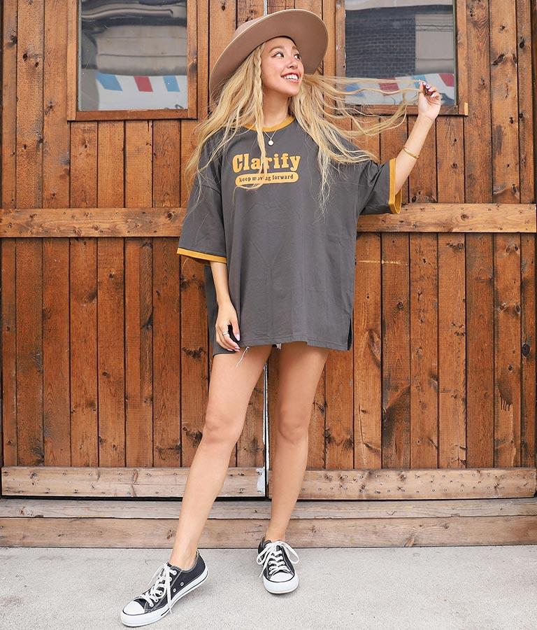 カレッジロゴリンガービッグTシャツ(トップス/Tシャツ) | anap mimpi