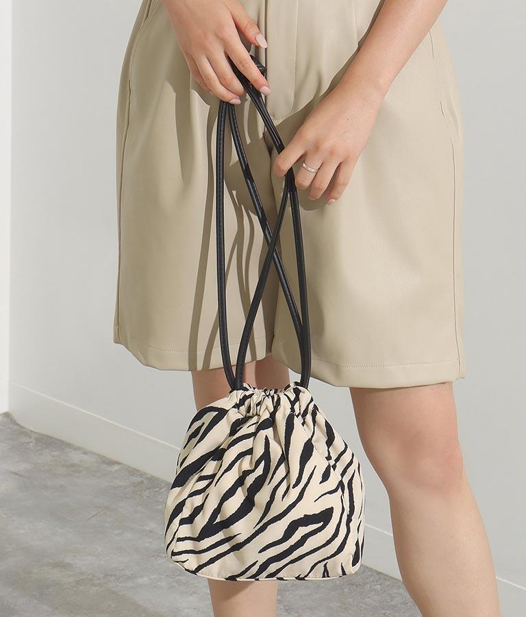 ゼブラプリントショルダー巾着バッグ