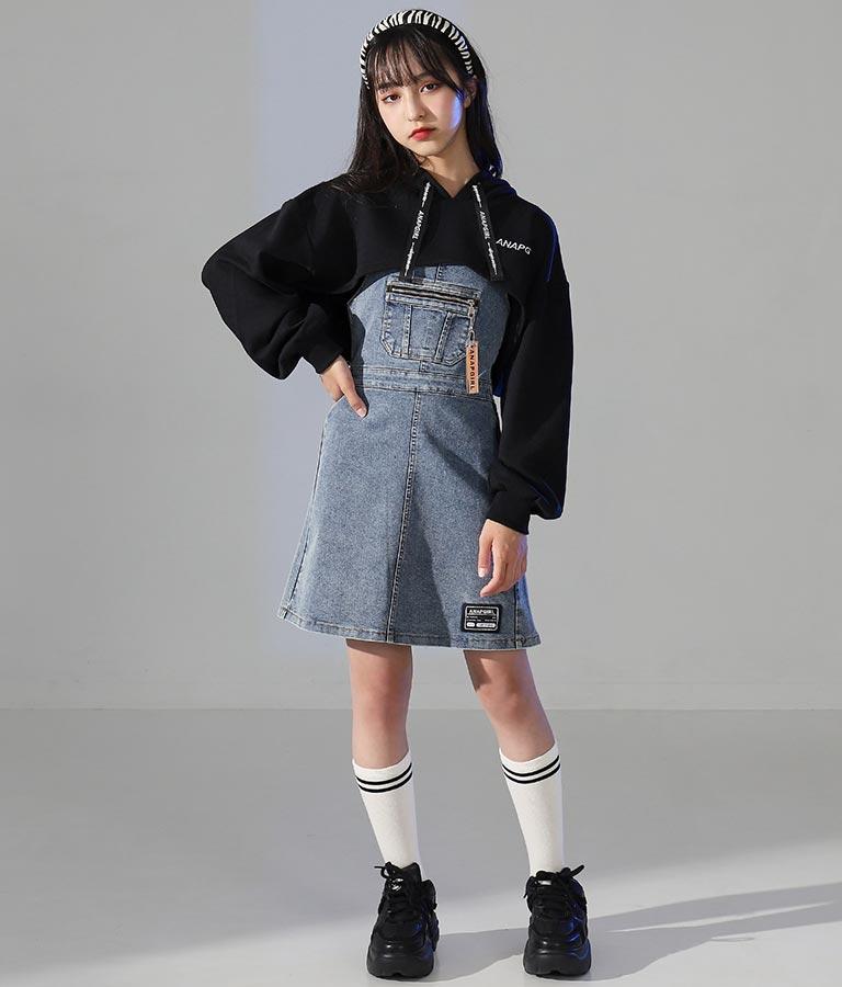 チャーム付デニムジャンパースカート(ワンピース・ドレス/ミニワンピ)   ANAP GiRL