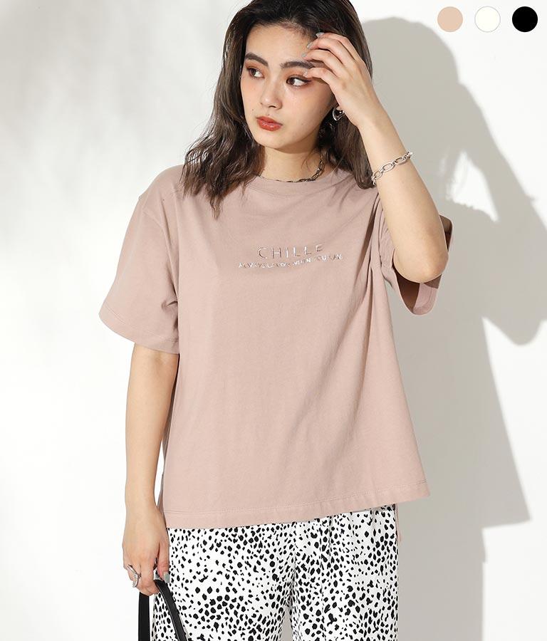 マーブル刺繍ロゴTシャツ