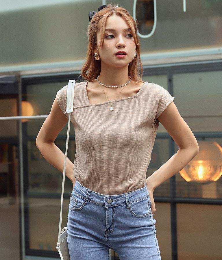 2WAYアシンメトリーリブTシャツ(トップス/Tシャツ) | CHILLE
