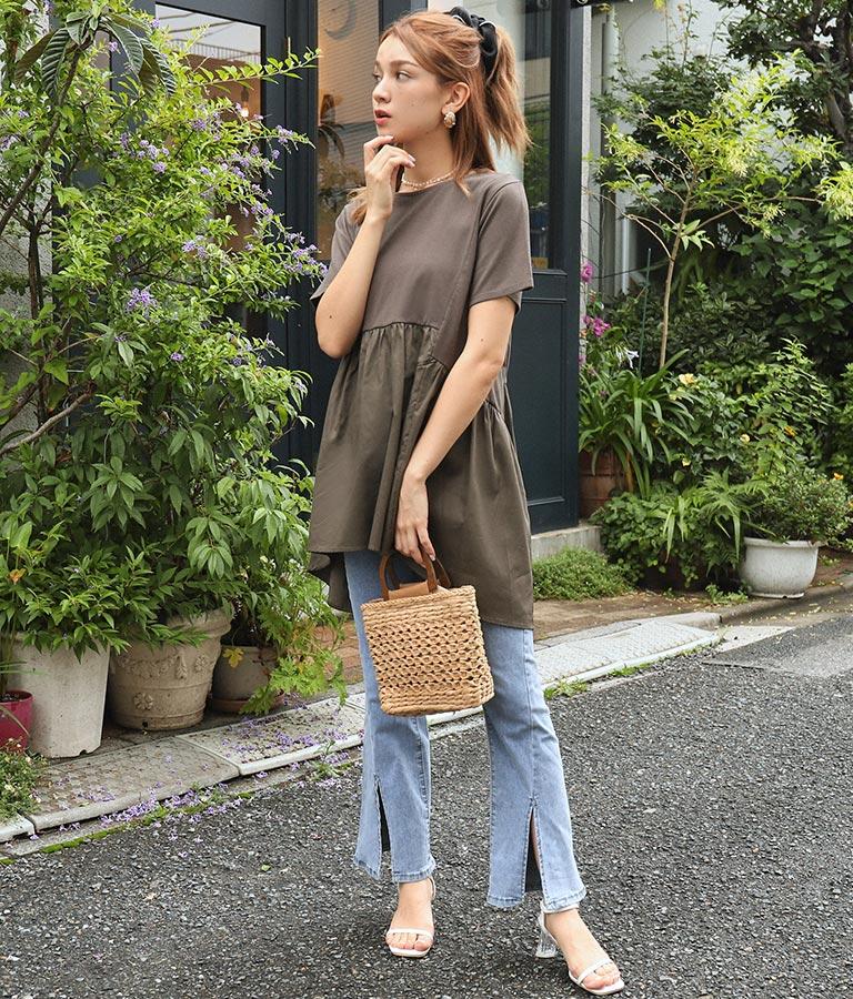 切替バックテールTシャツ(トップス/Tシャツ) | CHILLE