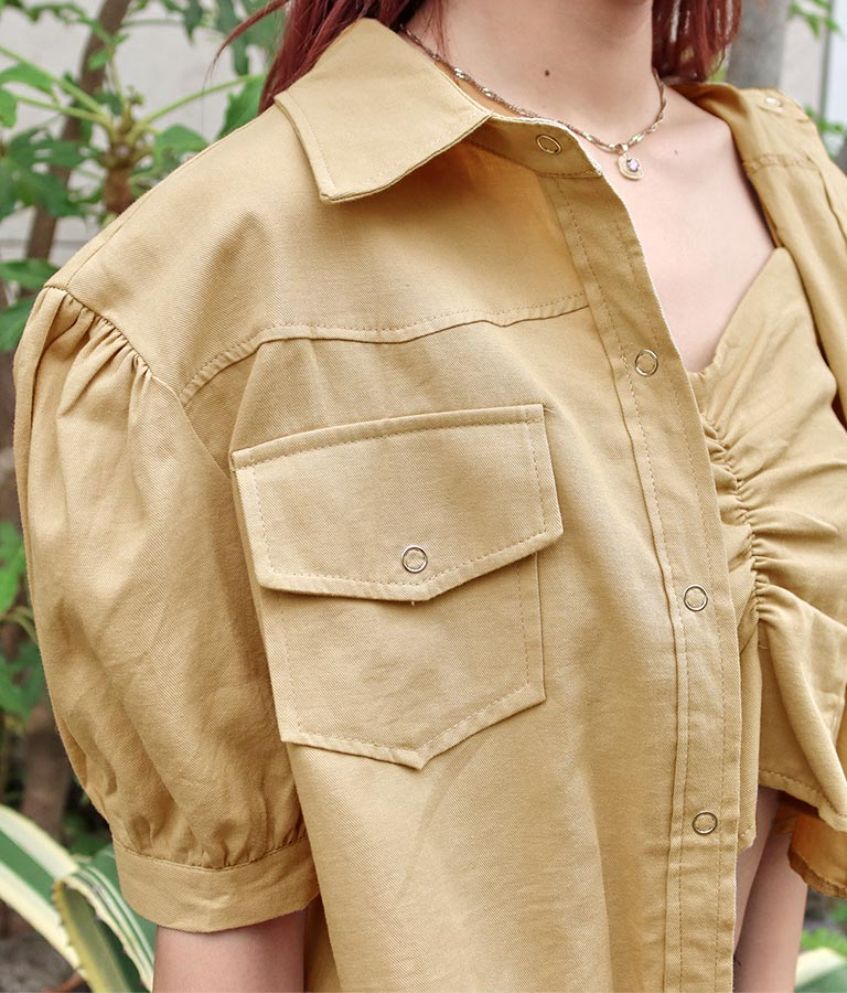 ボリュームショートジャケット×シャーリングキャミソール2点セット(アウター(コート・ジャケット) /キャミソール・ジャケット・ブルゾン) | anap Latina