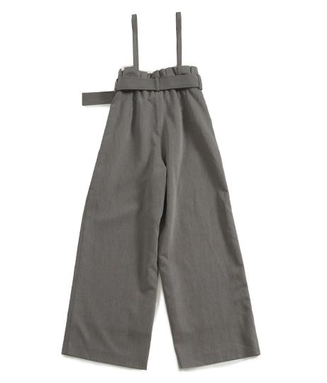 【低身長向けサイズ】ベルト付きハイウエストサロペットワイドパンツ(ボトムス・パンツ /ガウチョパンツ ・ワイドパンツ ・ロングパンツ)   AULI