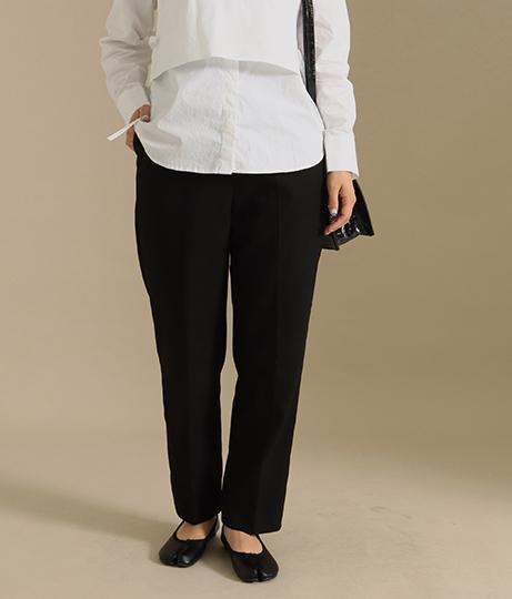 【低身長向けサイズ】ハイウエストサイドジップセンタープレスパンツ(ボトムス・パンツ /テーパードパンツ)   AULI