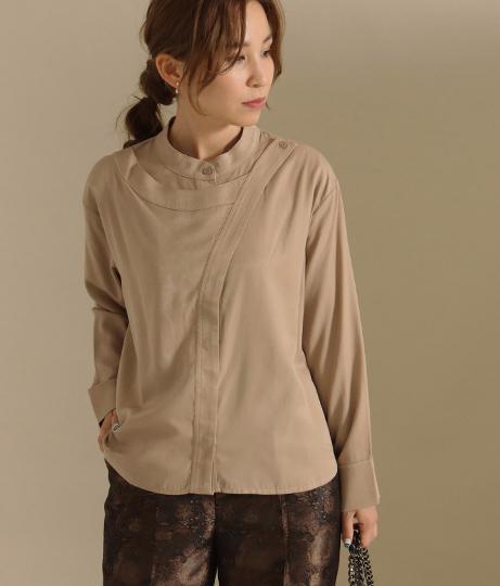 【低身長向けサイズ】レイヤードバンドカラーシャツ