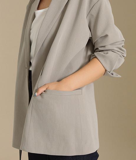 【低身長向けサイズ】配色リボンベルト付きロングジャケット(アウター(コート・ジャケット) /ジャケット・ブルゾン) | AULI