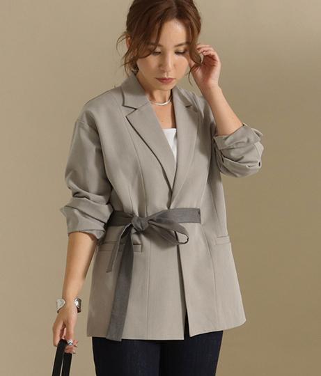 【低身長向けサイズ】配色リボンベルト付きロングジャケット