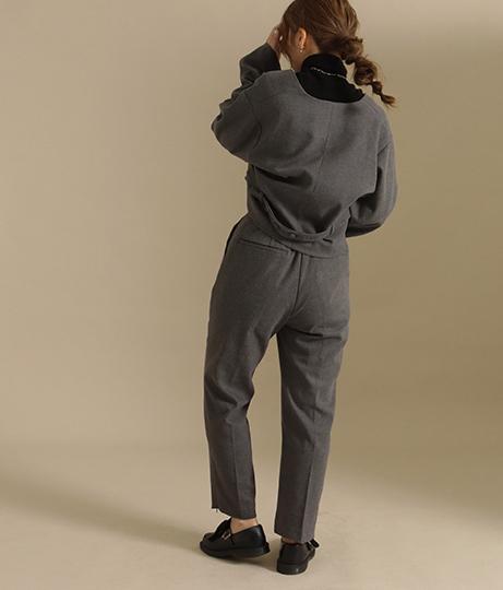 【低身長向けサイズ】ノーカラー袖タックショートジャケット(アウター(コート・ジャケット) /ジャケット・ブルゾン)   AULI