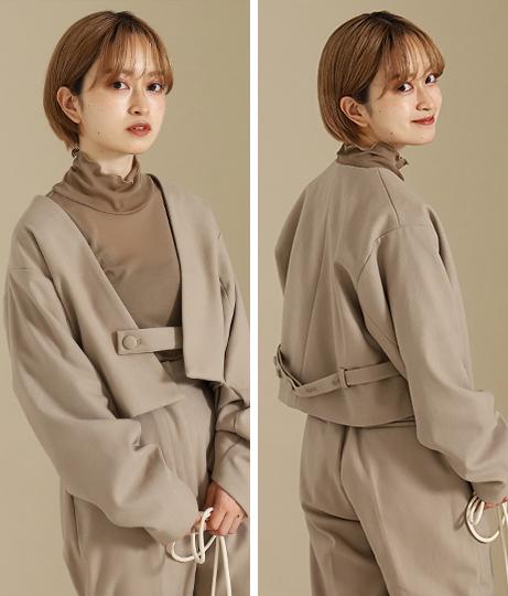 【低身長向けサイズ】ノーカラー袖タックショートジャケット