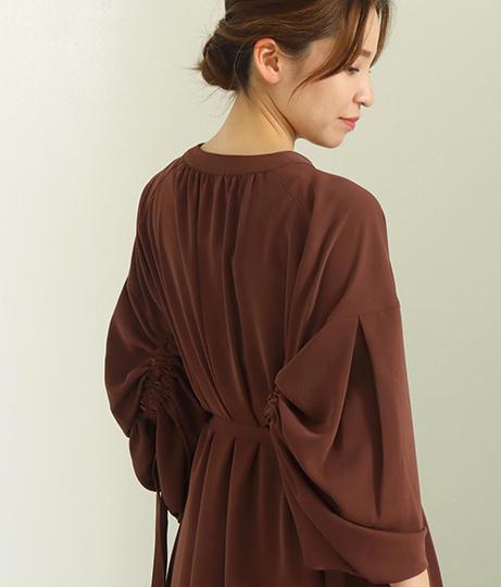 【低身長向けサイズ】シャーリングボリュームスリーブロングシャツワンピース(ワンピース・ドレス/ロングワンピ)   AULI