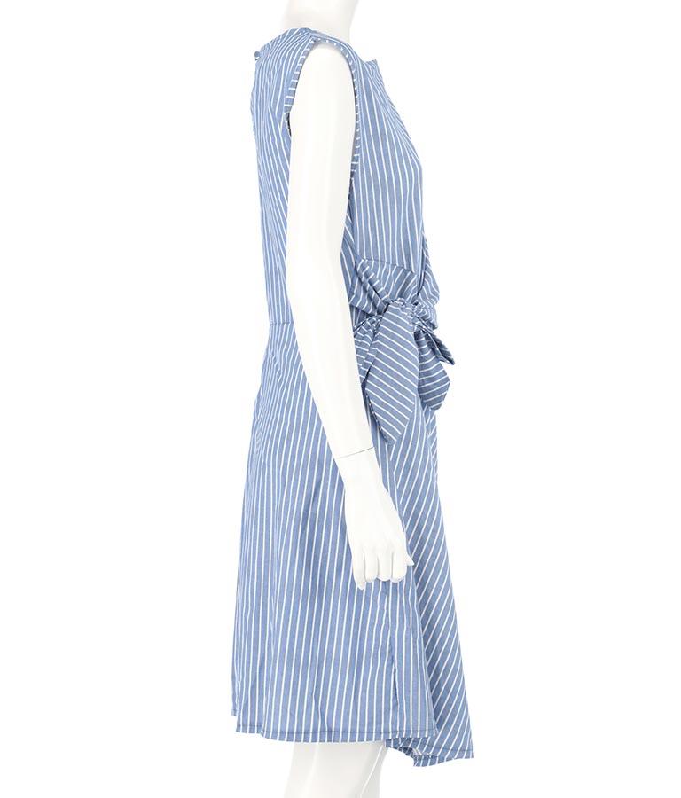 ドレープ&ノットデザインストライプコットンワンピース(ワンピース・ドレス/ミディアムワンピ) | Settimissimo