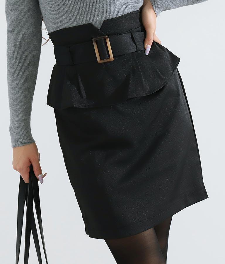 ベルト付きペプラムタイトスカート