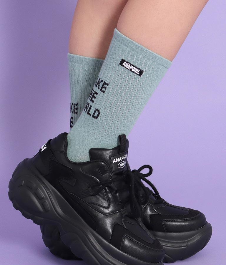 ロゴリブショートソックス(ファッション雑貨/ソックス・靴下) | ANAP GiRL