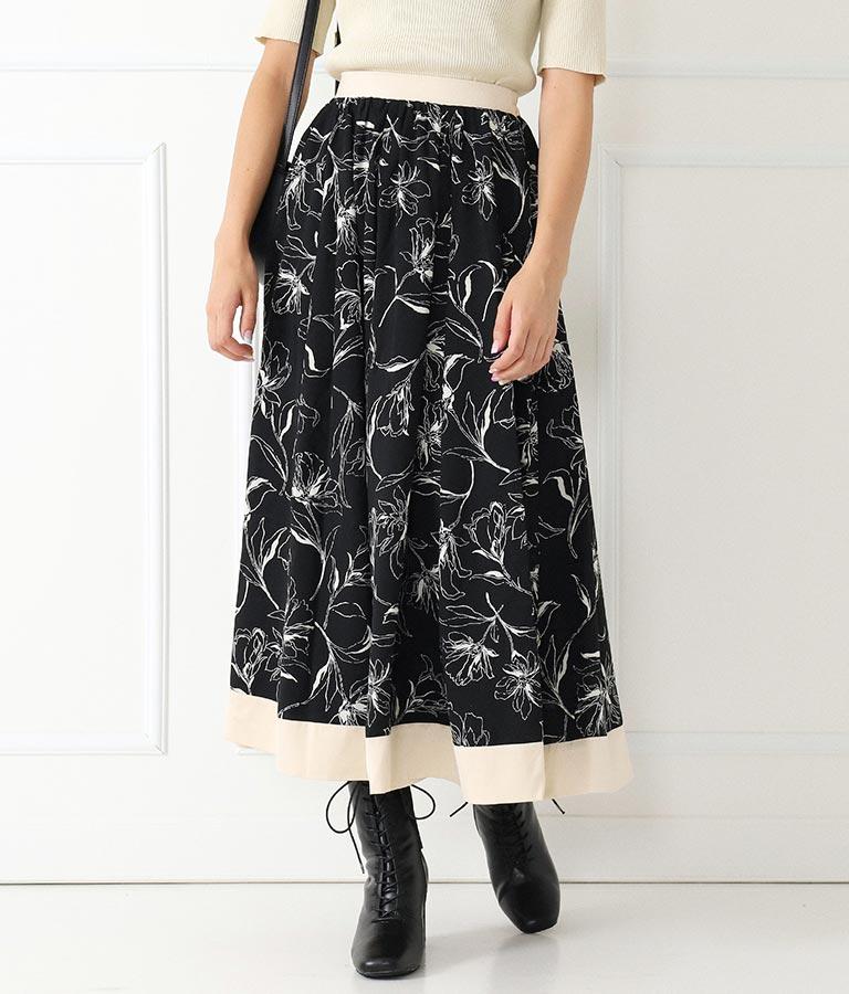 ラインフラワーサテン配色スカート