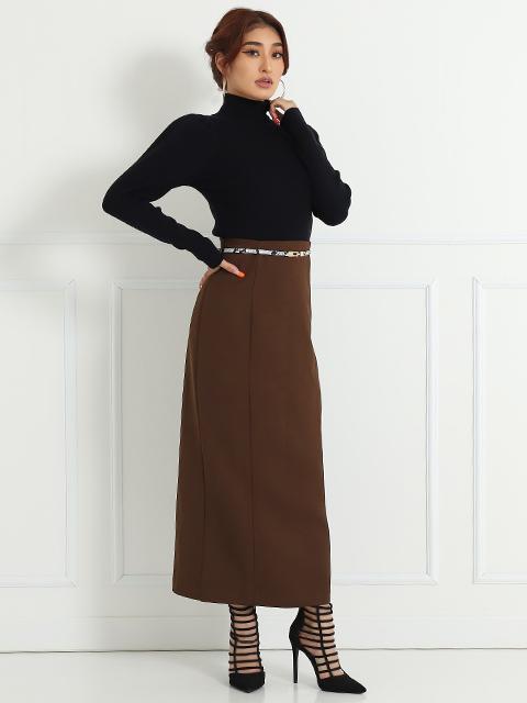 バックシャーリングロングタイトスカート