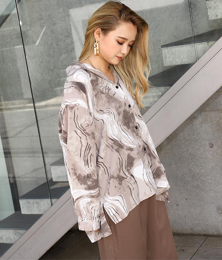 マーブルパターンオーバーサイズシャツ(トップス/シャツ・ブラウス)   ANAP