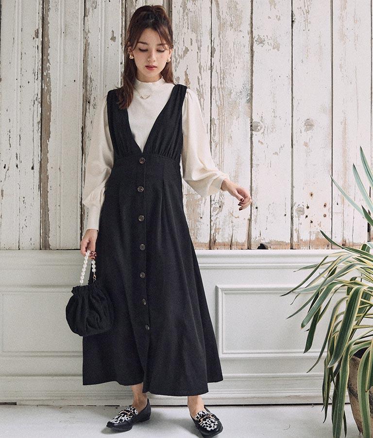 黒ボタンジャンパーワンピース(ワンピース・ドレス/ロングワンピ) | CHILLE